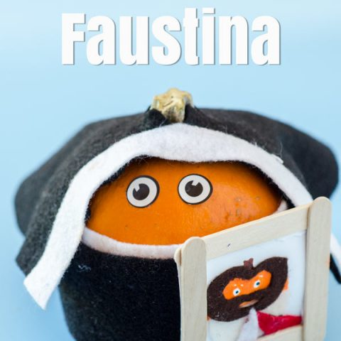 Pumpkin dressed as St. Faustina All Saints Day Crafts