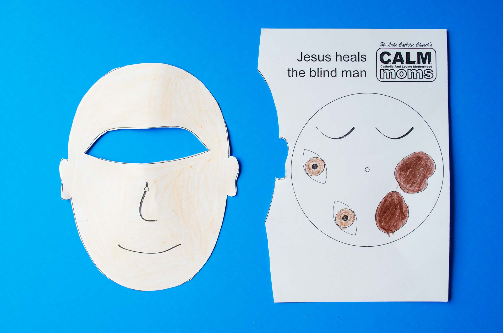 Man face was cut out of the jesus heal a blind man worksheet